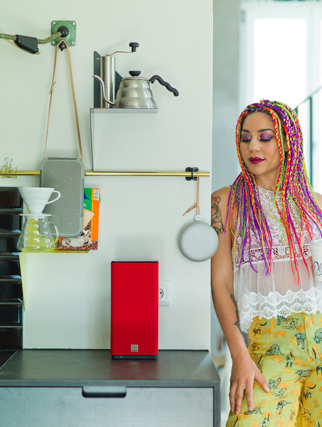 Joy Villa in the Berlin apartment with the Beoplay A1, Beoplay A2 and the DALI Kubik Free wireless speakers. Leica M9 with Leica 75mm Summilux-M f/1.4.