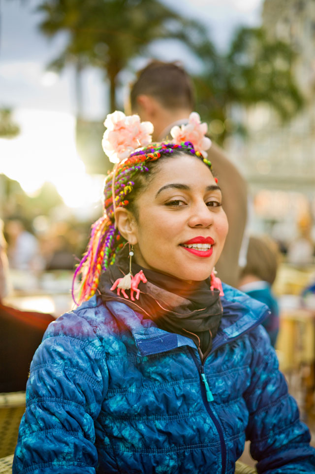 Joy Villa at Carlton Hotel Cannes in the sunset, flashing her Under Armor workout jacket and Alexander McQueen scarf. Leica M9 with Leica 50mm APO-Summicron-M ASPH f/2.0. © 2016 Thorsten Overgaard.