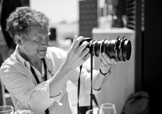 Lunch at CW Sonderoptic at Cannes Film Festival 2016. Cinematographer Guillamue Deffontaines with the Leica 100mm Summilux-C f/1.4 with two Macrolux 1X adapters on front.