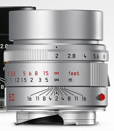 Leica 50mm APO-Summicron-M ASPH f/2.0. Silver. $7,995.  Buy from BH Photo / Amazon