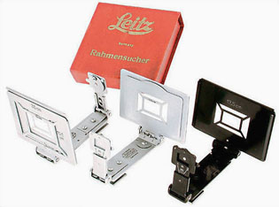 Leitz frame-finders (1940) for Leica cameras to attach on top of the camera to get an idea of the frame of the picture with different lenses. Also known as sports-finders.