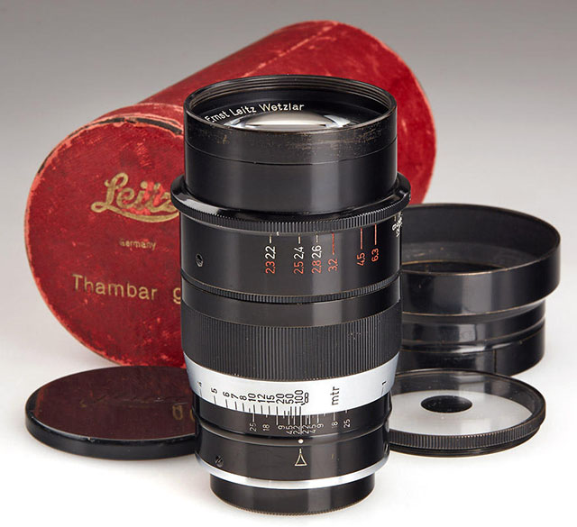 "When you have explored the Leica M lenses, you may start exploring the less expensive and/or the more rare and expensive Leitz Screw Mount lenses. One of the exotic ones is this Leitz 90mm Thambar f/2.2 that was deliberately made to create ""blurry portraits"". The complete set (as above) consist of the original red box, lens cap, lens shade and the special soft focus filter with a black dot in the middle. They exist with the focusing scale in either Meter or Feet. Only 3,500 or less were made from 1934-1940, from serial number 226001 to 540500 and the price usually starts from ,000. I've been there, done that, as you can read more about in my article here: ""Leitz 90mm Thambar f/2.2""."