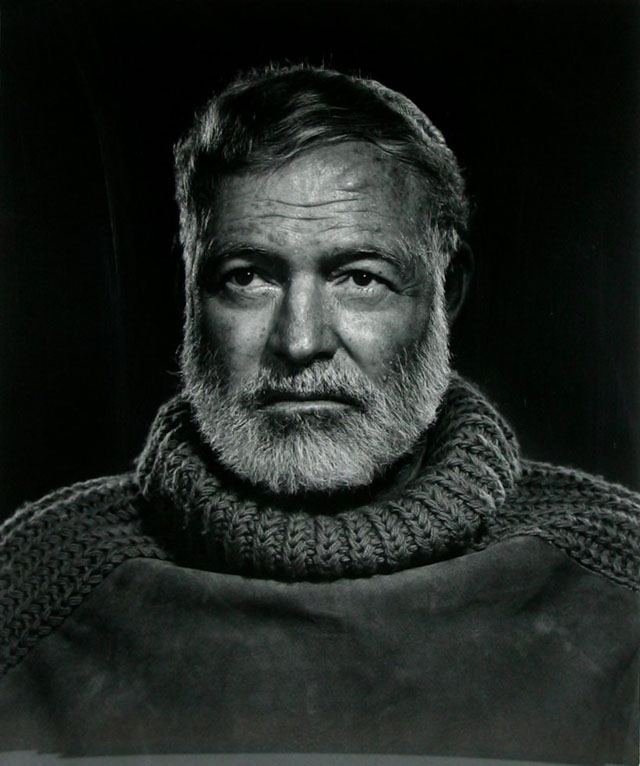 Here's one I actually have on my wall at home: Ernest Hemingway by Yousuf Karsh (1957) is one classic black & white photograph that actually has a great tonality, light and subject. © Yousef Karsh.