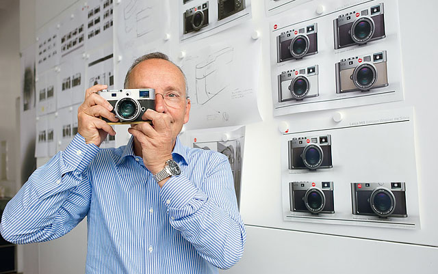 Walter de'Silva in front of some of the design studies to the limited edition Leica M9 Titanium