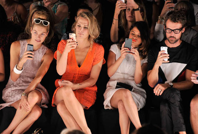 Fashion week front row: Jessica Hart, Molly Sims, Melonie Diaz and Brad Goreski. Photo by Stephen Lovekin for Mercedes-Benz Fashion Week.
