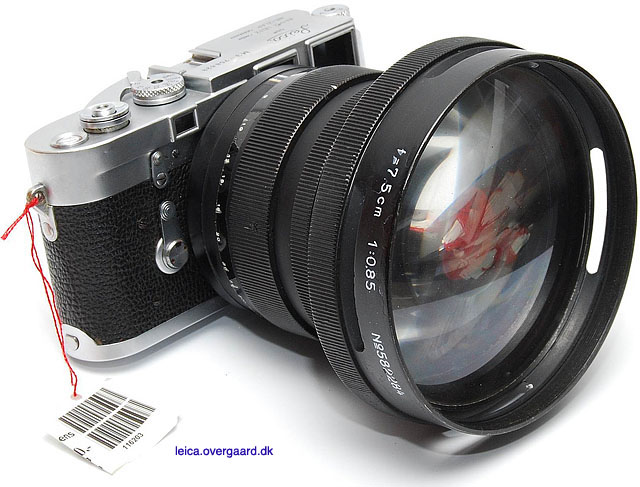 This sweet prototype of an f/0.85 75mm, or very limited edition made for the US military, was sold on auction for 4,000 Euro in 2008. (I should have bought it).