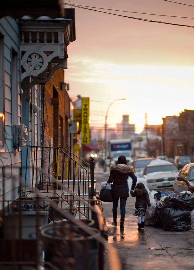 Sunset over Greenpoint Avenue, Long Island, New York. Leica M10 with Leica 50mm Noctilux-M ASPH f/0.95 FLE. © 2017 Thorsten Overgaard.