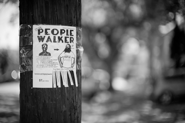 The People Walker poster in Los Angeles. It's actually a great idea, and he even has a YouTube channel now, walking around with celebrities in Hollywood. If you go to Hollywood, maybe hire him, and remember to always wear a camera. Leica M10 with Leica 50mm Noctilux-M ASPH f/0.95 FLE. © 2017 Thorsten Overgaard.q