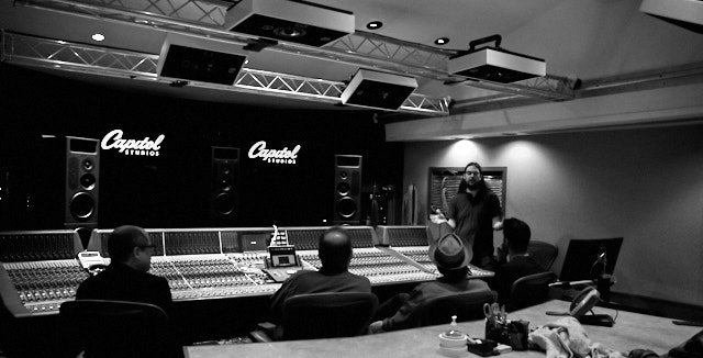 Visiting the Studio C at Capitol Studios where Nick Rives explains about editing Dolby Atmos sound for 20 speaker surrpouind. Leica M10-P with Leica 28mm Summilux-M ASPH f/1.4. © Thorsten Overgaard.
