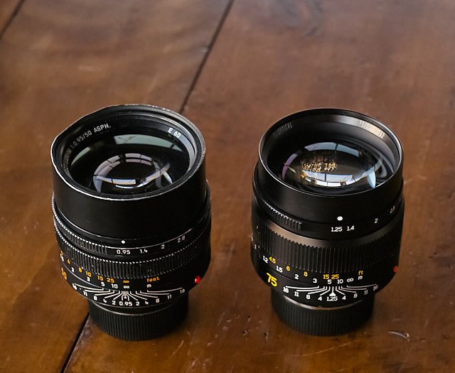The 50mm Noctilux f/0.95 vs 7artisans 75mm compares in size and weight. © Thorsten Overgaard.