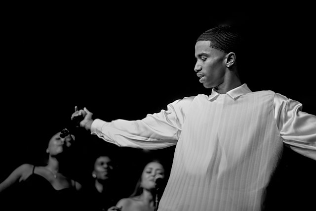 King Combs (P Diddy's son) performing at the Clive Davis Pre-Grammys Gala. One of my favorites for his flow and look like a white swan, and my personal favorite photo of the evening. The outfit styled by Lade Aiyeku: west by The Row, shirt by YSL, pants by Maxmara, boots by Celine. Leica M10-P with Leica 50mm Summilux-M ASPH f/1.4 © Thorsten Overgaard.