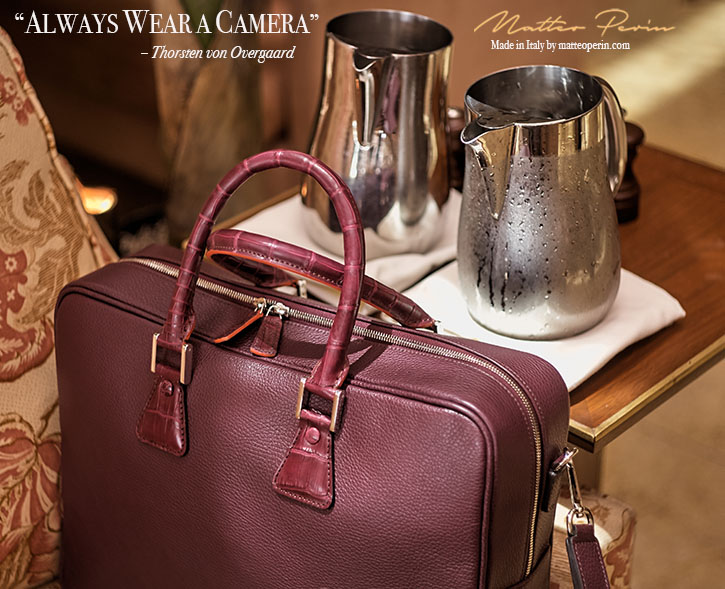 A travel bag, for cameras. Designed by Thorsten von Overgaard and Matteo Perin. Soft Italian Burgundy Red Leather with Croc Details