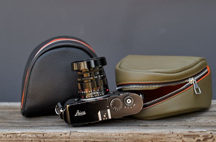 Soft leather camera pouch for Leica Q, Leica Q2 and Leica M. See more here.