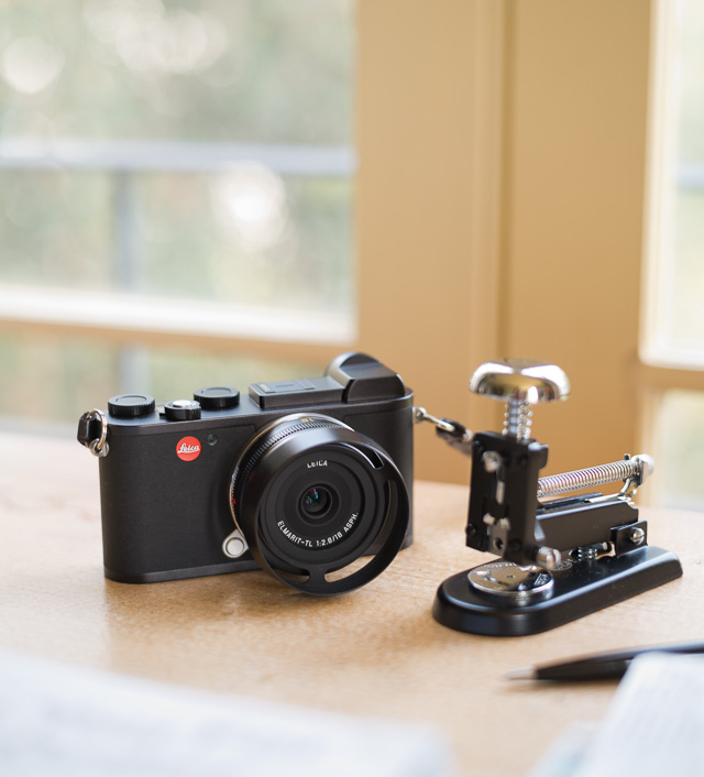 My Leica CL with 18mm Elmarit-TL f/2.8 on my desk (with my El Casco Stapler from Fahrney's Pens just the down the street from the Leica Store DC. © 2018 Thorsten von Overgaard.