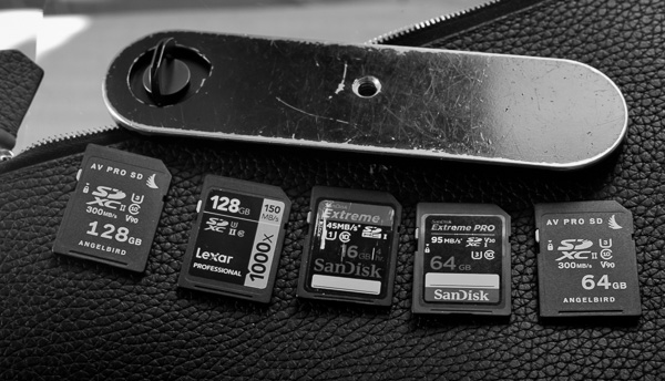 "When you buy a Leica M9, or you take it out from the closet, you might have forgotten that the limit for SD-cards is 16GB. The de facto standard for the Leica M9 is the SanDisk 16GB 45MB/sec card. So buy a few while they still have them (they're only $5.50). Also, the 32GB Sandisk 95MB/sec will work.   If you get too enthusiastic and buy the awesome 128GB Angelbird cards, or a 64 GB SanDisk ""to have space enough"", the Leica M9 will simply not react when you turn it on, or will display a ""No SD card"" message."