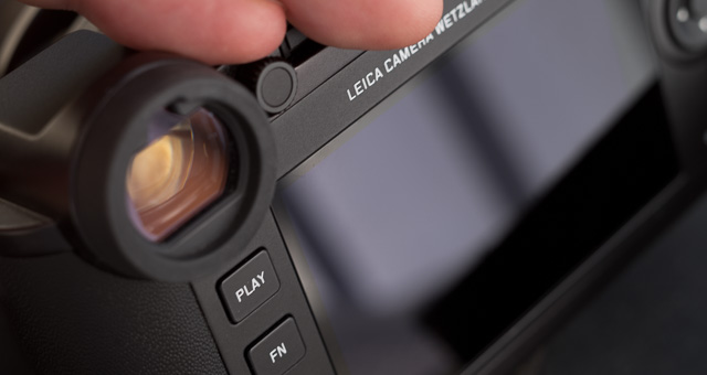 The diopter adjustment on the Leica CL sits just next to the EVF. You pull it out, adjust the view so the text in the EVF is sharp and crisp, then press it in. It stays locked and doesn't turn.
