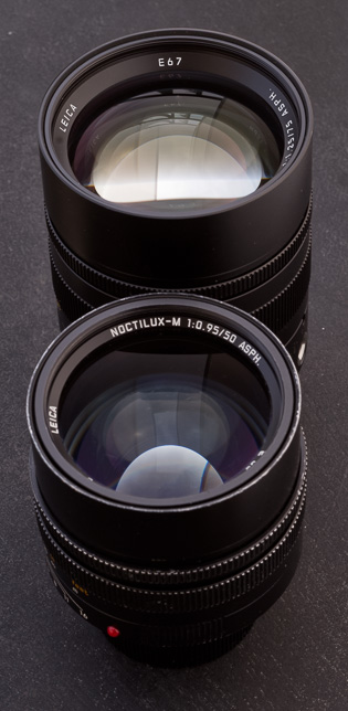 The 75mm Noctilux is 1 mm larger in diameter compoared to the 50mm Noctilux.