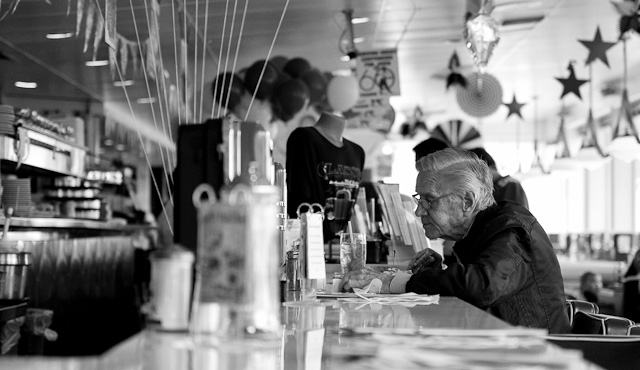 4th of July in America. Inside Mel's Diner in San Francisco. Leica M 240 with Leica 50mm Noctilux-M ASPH f/0.95. © 2014-2016 Thorsten Overgaard