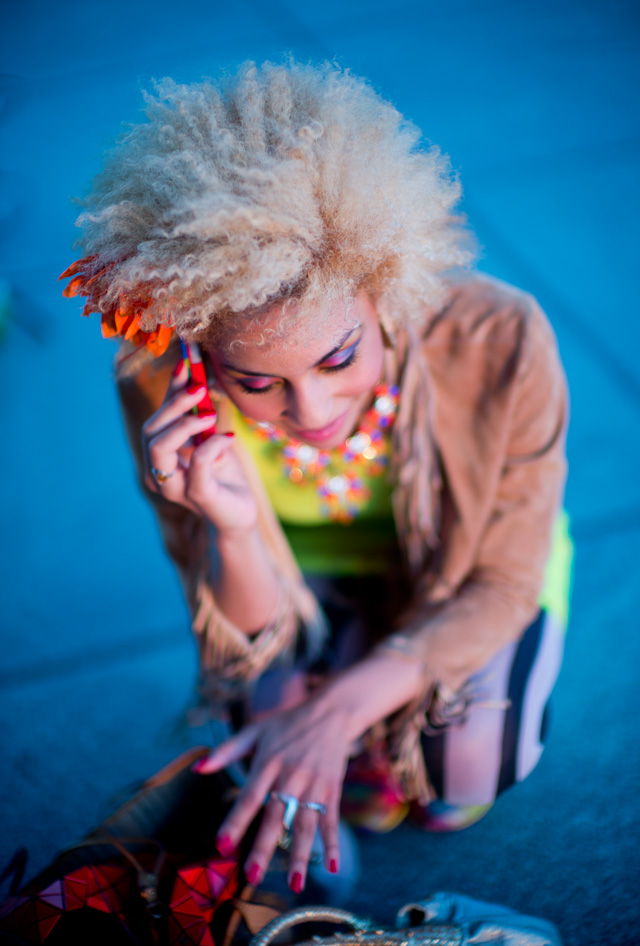 Joy Villa on a location for a video shoot in downtown LA at sunset where the colors got really intersting. Leica M 240 with Leica 50mm Noctilux-M ASPH f/0.95.