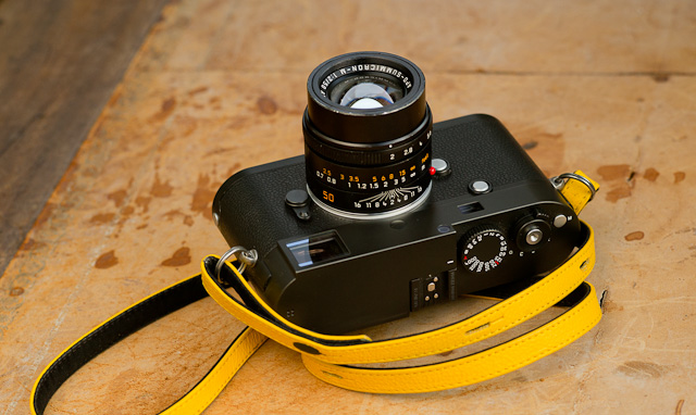 Leica M 246 Monochrom with Leica A La Carter X2 yellow leather strap