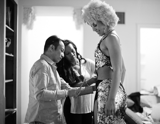 Andre Soriano creating the dress on Princess Joy Villa in Hollywood. Leica M 240 with Leica 50mm Noctilux-M ASPH f/0.95.