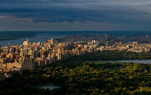 The view over Central Park in New York at sunset. You can easily tell the warm sunlight from the cold shadows, plus reflections of the cold water to the sky and back down. Leica M 240 with Leica 75m Summilux-M f/1.4.