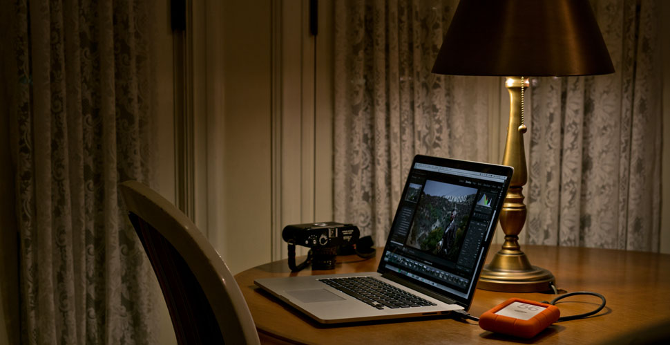 "Cosy moment with the Apple MacBook Pro 15"" Retina, LaCie 4TB hard drive and the Leiac M-D 262 digital rangefinder. © 2016 Thorsten Overgaard."