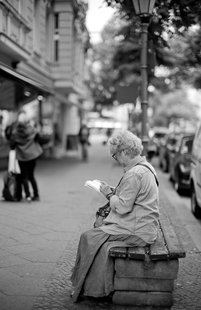 Reading in Berlin. Leica M Monochrom Typ 246 with Leica 50mm Noctilux-M ASPH f/0.95