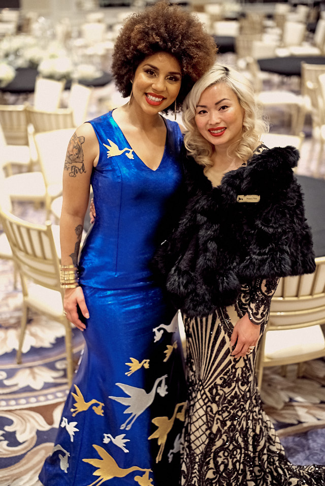 Joy Villa in her Save The Storks Dress with the designer. Leica M10-P with 50mm Summilux-M ASPH f/1.4. © 2019 Thorstem Overgaard.