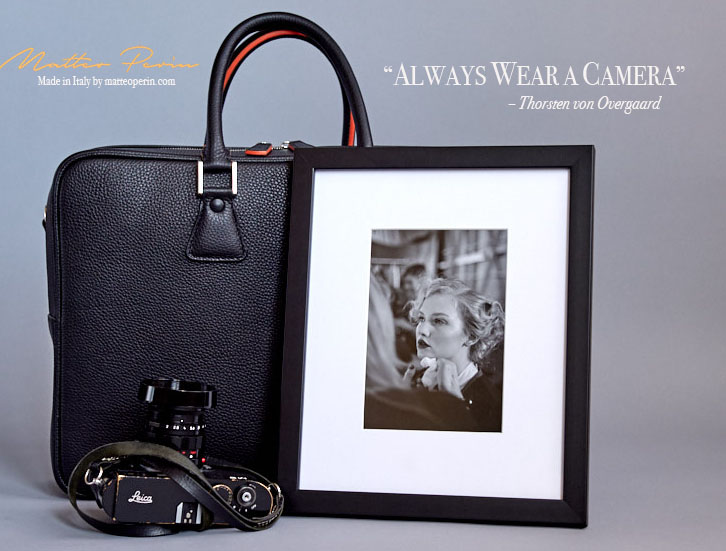The 'Always Wear a Camera' Calfskin Camera Bag in Soft Italian calfskin leather. Black 'New York Model' for Leica M system