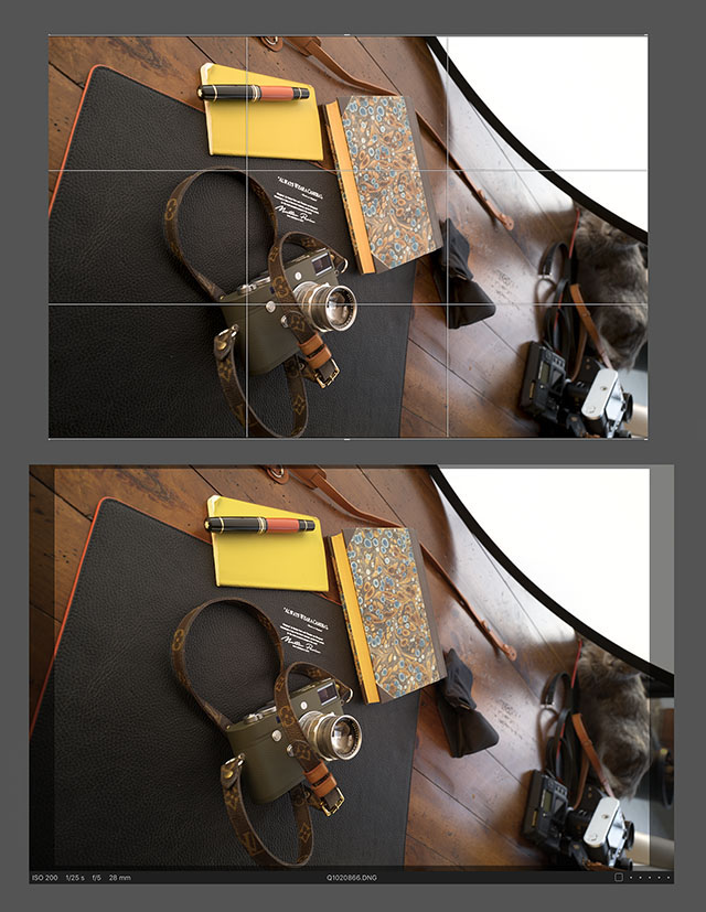 The 28mm frame (top) and how it looks when you import the photo to Capture One Pro. As you can see, you have a 24mm frame with the 28mm frame framelines marked.