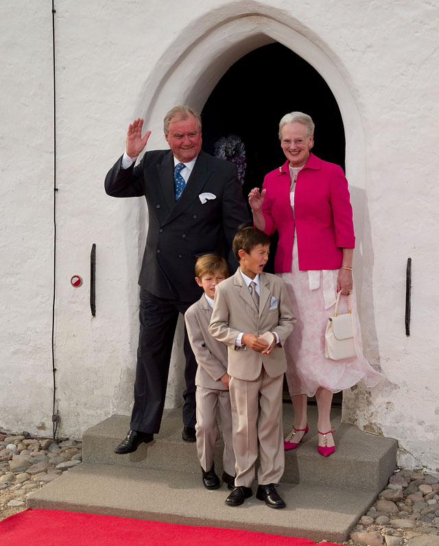 HRH Prince Henrik and Her Majesty Queen Margrethe II of Denmark with two of the eight grandchildren, Prince Nikolai and Perince Felix
