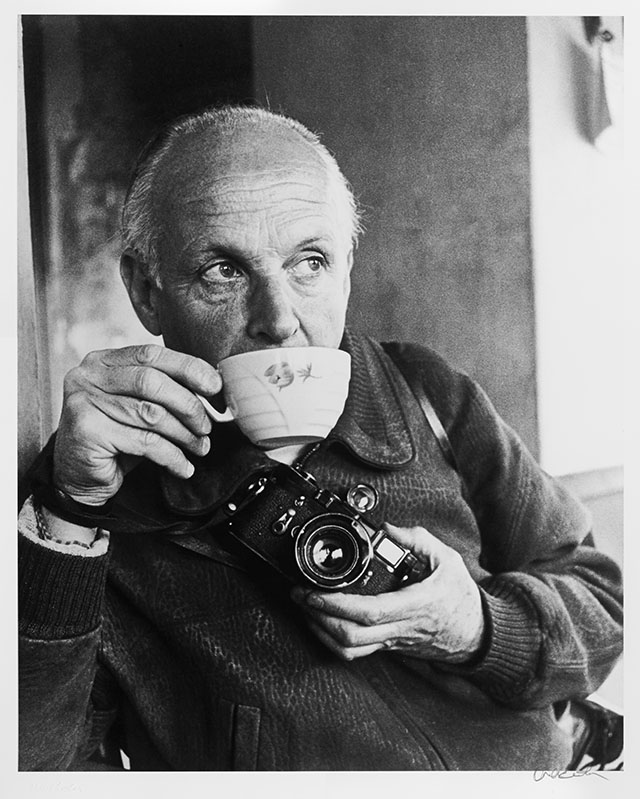 Henri Cartier-Bresson with his Leica M3 in 1964. Photo by Ara-Güler.