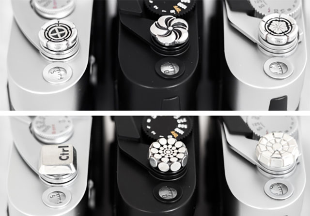 Sterling silver soft release buttons for Leica and other camera, from Bashert and LeiacRumors.