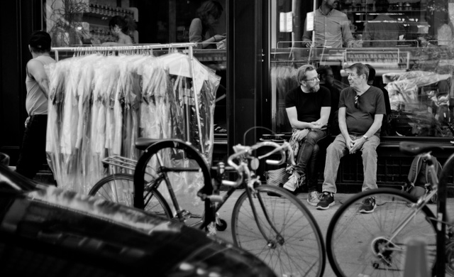 Thorsten Overgaard and Ken Hansen in the midst of New York while the New York Fashion Week is packing down. Photo by Edward Sherman. Leica M 240 with Leica 35mm Summilux-M ASPH f/1.4.