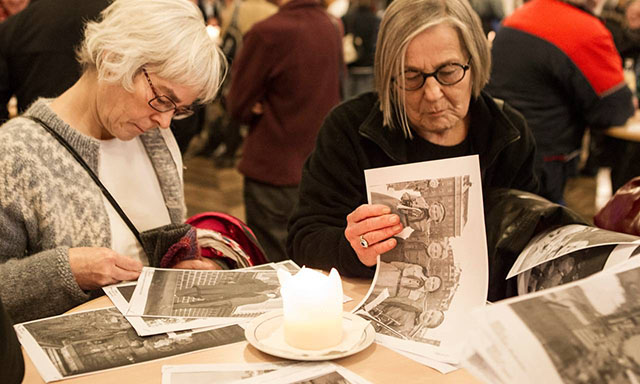 My local city history archive had a large group of people come for coffee in 2014 to look through pictures to determine locations, keywords and more as the archive was digitized. So much work and so many questions, just because nobody took care to write a note on the back of the photos! Photo by Jens Thaysen.
