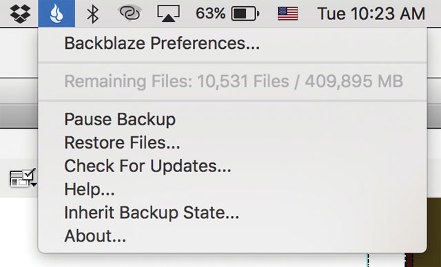 Backblaze backup service runs in the background