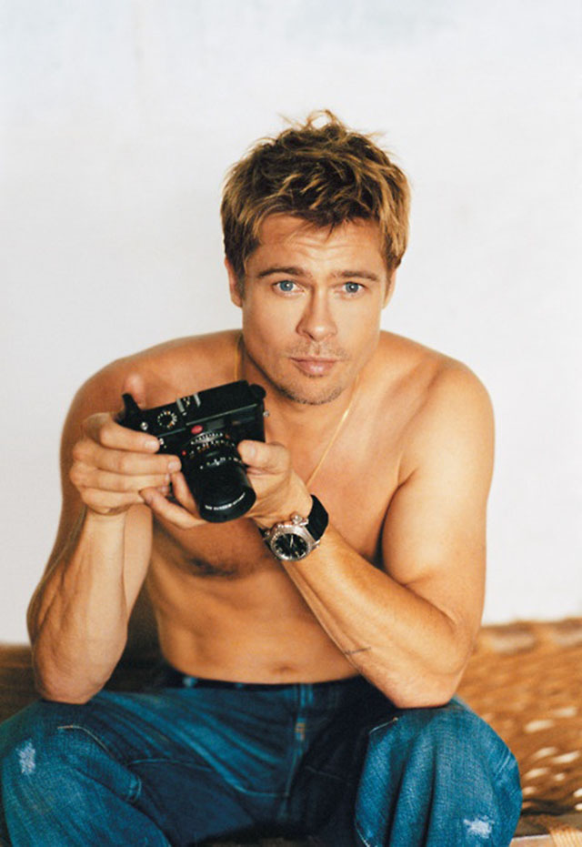 Brad Pitt with his film Leica.
