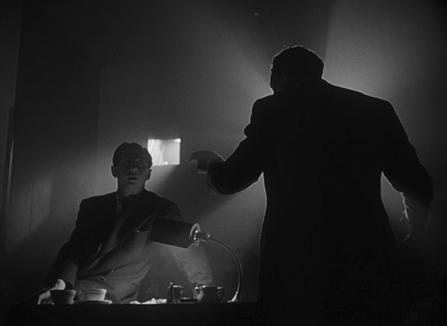These two stills from Citizen Kane (1941, cinematography by Gregg Toland, directed by Orson Welles) use the light in the room (spread with mist from a fog machine), which also creates light rays that are broken by the silhouettes. It's almost too much effect, except it looks beautiful.