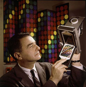 Edwin Land with his Land Camera and Polaroid