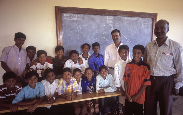 Headmaster of JSS Higher Pozimary School in Mysore, India with his class. Leica M4. © 2005-2016 Thorsten Overgaard.