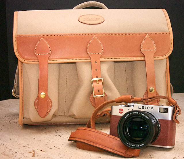 John Thawley's brown Leica Digilux 2 camera and bag
