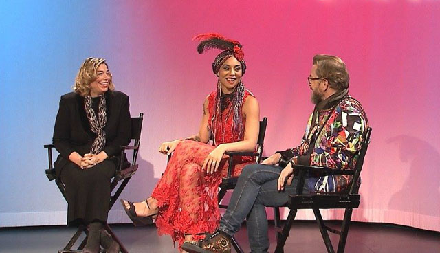 GingerBroderick with Princess Joy Villa and Thorsten von Overgaard on Ginger TV in New York.