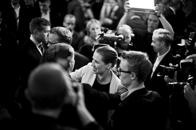 Leica M: Election night with Leica M and Leica 50mm Noctilux-M ASPH f/0.95. Mette Frederiksen, Danish Prime Minister to be. © 2015 Thorsten Overgaard.