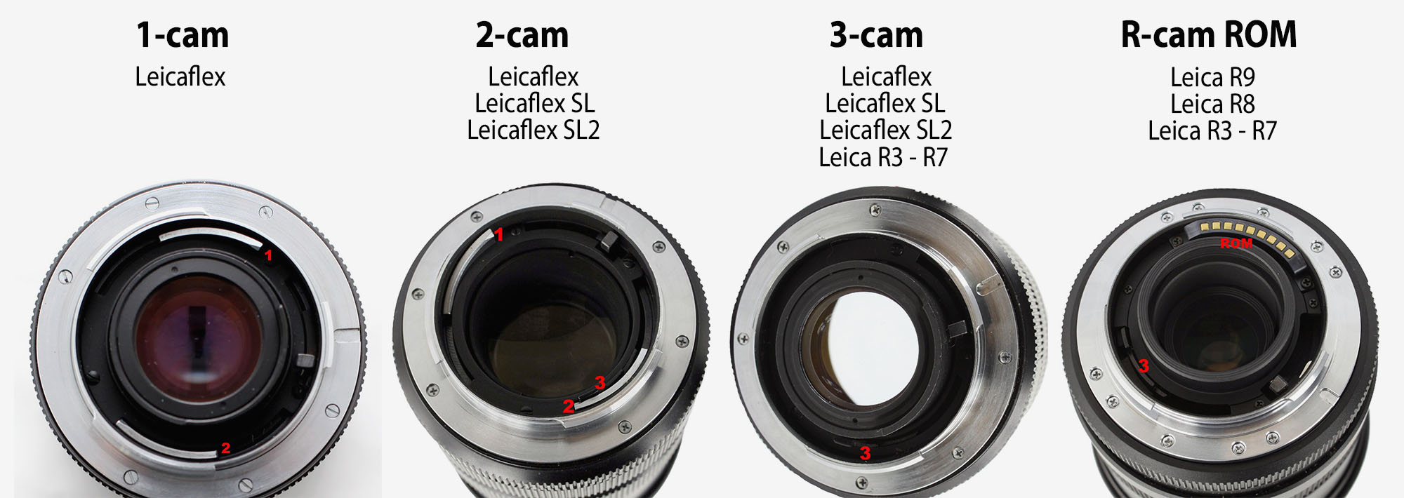 Cam = A Leica transmission system for the Leica R lenses, seen as metal parts inside the lens bayonet. (A cam is a rotatingpartinmachinery,designedto