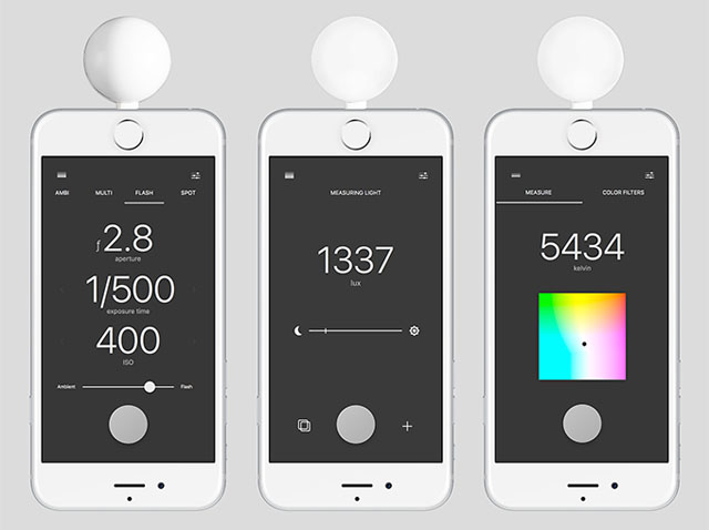 The LUMU color meter ($249 at Amazon) for the iPhone acts as both light meter (left) and color meter (right). It can also be used to measure indoor light (center).