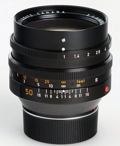 The Leica Noctilux-M f/1.0 (1978-82) with 60mm filter thread.