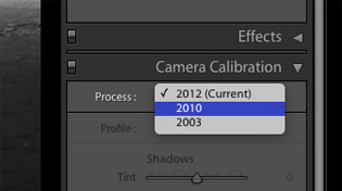 from Process 2012 to 2010 in Lightroom