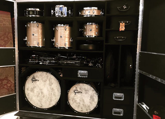 Stanton More's flight case for his new Gretsch Drums.