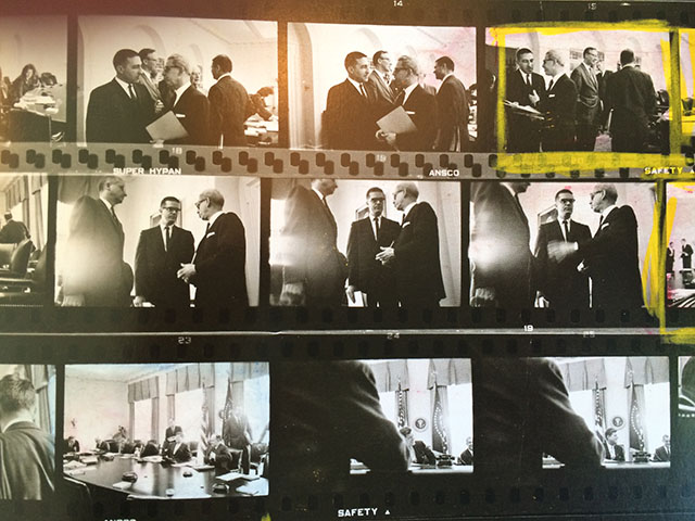 I have been wanting the Magnum Contact Sheets for a while. I finally got it sent to me, and in reading it, I stumbled over some unublished Cornell Capa images from The White House from 1961. In the images I recognized JFK speechwriter Ted Sorensen (1928-2010) who was a good friend of mine. I mailed them to his wife and daughter, and his wife could tell that Ted Sorensen is seen talking to Arthur Goldberg, the secretary of labor under JFK, US ambassador to the UN, and Supreme Court Justice.